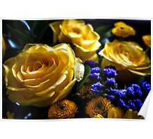 YELLOW ROSES WITH BLUE FLOWERS Poster