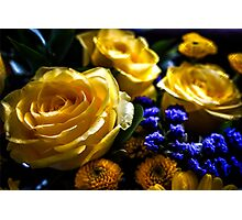 YELLOW ROSES WITH BLUE FLOWERS Photographic Print