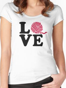 Wool knitting love Women's Fitted Scoop T-Shirt