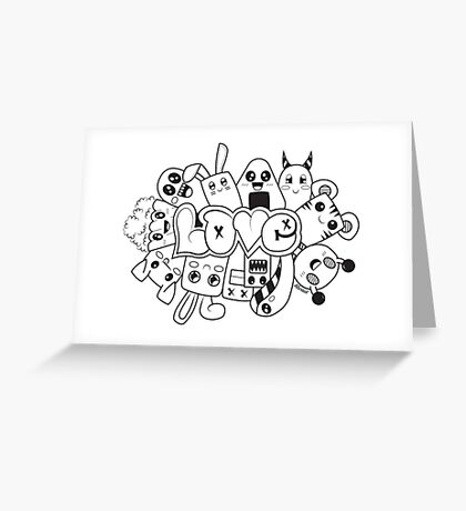 Doodle Love /Black and White Greeting Card