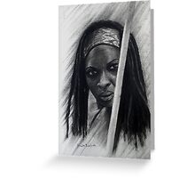 Michonne in graffiti and Charcoal Greeting Card