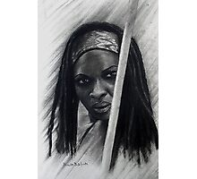 Michonne in graffiti and Charcoal Photographic Print