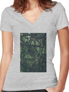 Green  forest nature Women's Fitted V-Neck T-Shirt