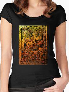 MESOAMERICAN MAYAN FIGURE Women's Fitted Scoop T-Shirt