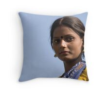Village Girl Throw Pillow