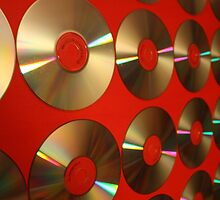 Red CD's on Canvas by Michael Stocks