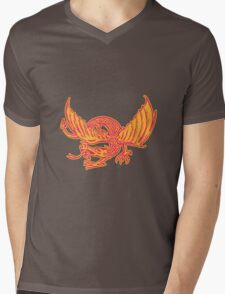 Dragon Medieval Front Etching Mens V-Neck T-Shirt