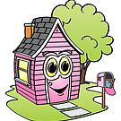 Pink House Cartoon by Graphxpro