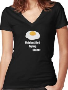Unidentified Frying Object Women's Fitted V-Neck T-Shirt