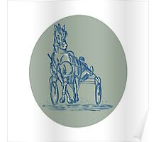 Horse and Jockey Harness Racing Etching Poster