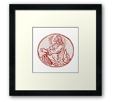Jesus Christ Agony in the Garden Etching Framed Print