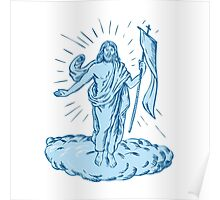 Jesus Christ Resurrection Etching Poster