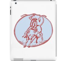 Rodeo Cowboy Bull Riding Circle Etching iPad Case/Skin