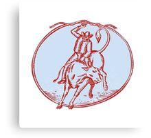 Rodeo Cowboy Bull Riding Circle Etching Canvas Print