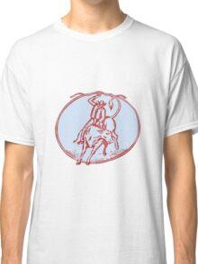 Rodeo Cowboy Bull Riding Circle Etching Classic T-Shirt