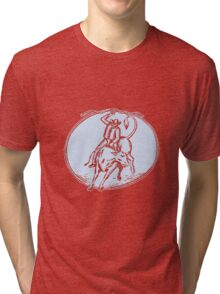Rodeo Cowboy Bull Riding Circle Etching Tri-blend T-Shirt
