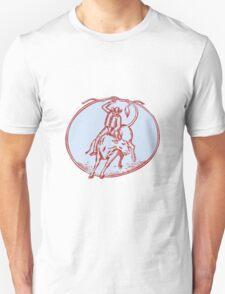 Rodeo Cowboy Bull Riding Circle Etching T-Shirt