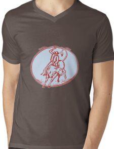 Rodeo Cowboy Bull Riding Circle Etching Mens V-Neck T-Shirt