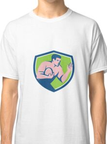 Rugby Player Ball Fend Off Shield Retro Classic T-Shirt