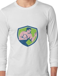 Rugby Player Ball Fend Off Shield Retro Long Sleeve T-Shirt