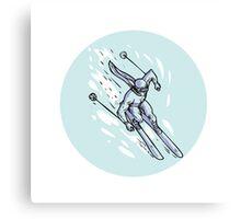 Skiing Slalom Circle Etching Canvas Print