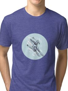 Skiing Slalom Circle Etching Tri-blend T-Shirt