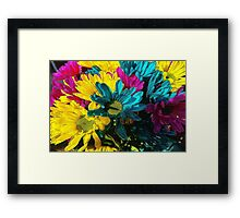 Psychedelic Spring Daisies Framed Print