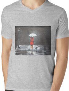 Stroll in the rain Mens V-Neck T-Shirt