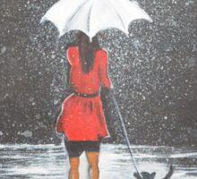 Stroll in the rain Sticker