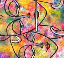 Radha Krishn Holi abstract Sticker