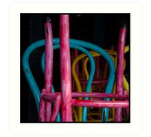 Colourful chairs of the thriving Melbourne coffee culture, closed on Sunday afternoon Art Print