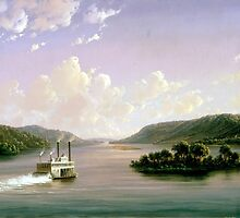 Joachim Ferdinand Richardt – The White House Art Collection 971.655.1. View on the Mississippi Fifty-Seven Miles Below St. Anthony Falls, Minneapolis (1858) by Adam Asar