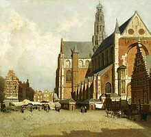 Johannes Christiaan Karel Klinkenberg – private collection. A Market by the St. Bavo Church, Haarlem (c. 1880-1920) by Adam Asar