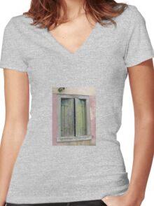 WORN SHUTTERS Women's Fitted V-Neck T-Shirt