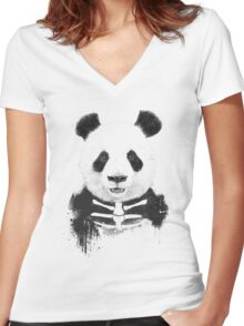 Zombie panda Women's Fitted V-Neck T-Shirt