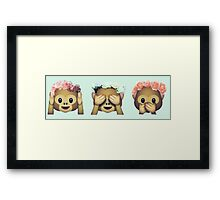 Monkey See No Evil Flower Crown Emoji Framed Print