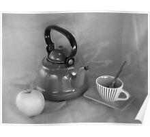 Still life with teapot and apple Poster