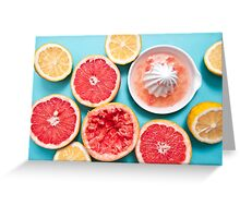 Juicy citruses on the blue Greeting Card