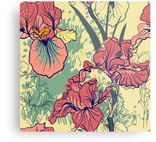 SeaSeamless pattern with decorative  iris flower in retro colors. mless pattern with decorative  iris flower in retro colors.  Metal Print