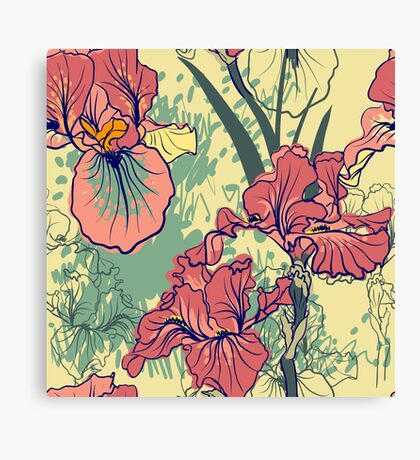 SeaSeamless pattern with decorative  iris flower in retro colors. mless pattern with decorative  iris flower in retro colors.  Canvas Print