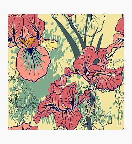 SeaSeamless pattern with decorative  iris flower in retro colors. mless pattern with decorative  iris flower in retro colors.  Photographic Print