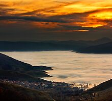 Sunset over a lake of clouds - Prespes by Hercules Milas