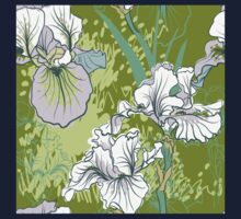 Seamless pattern with decorative  iris flower in retro colors.  Kids Clothes