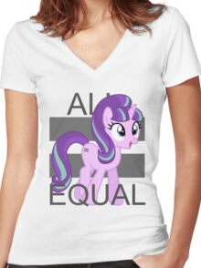 All Equal - Starlight Glimmer Women's Fitted V-Neck T-Shirt