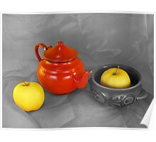 red teapot and golden apples Poster