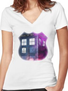 Public Police Box - Dr Who Women's Fitted V-Neck T-Shirt
