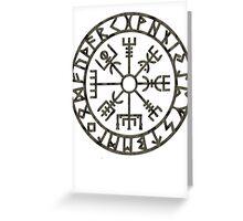 Vegvísir (Icelandic 'sign post') Symbol - black grunge Greeting Card
