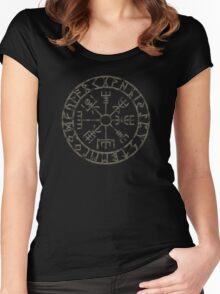 Vegvísir (Icelandic 'sign post') Symbol - black grunge Women's Fitted Scoop T-Shirt