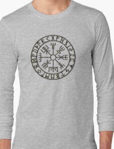 Vegvísir (Icelandic 'sign post') Symbol - black grunge Long Sleeve T-Shirt