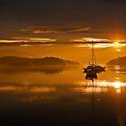 San Juan Islands Sunrise by haybales